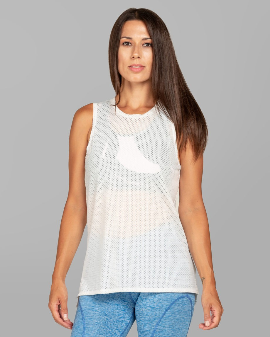 Power Mesh Sleeveless White